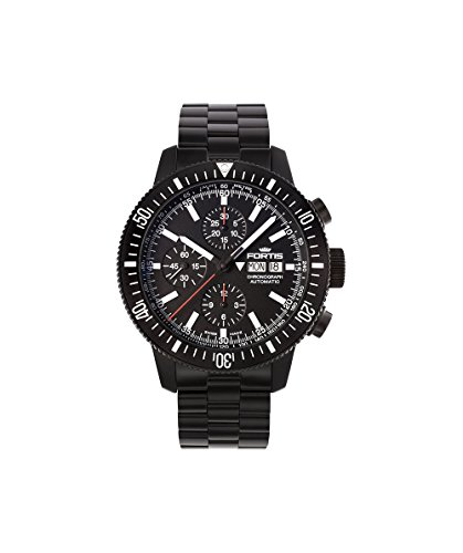 Fortis Mens 638 18 31 Mpvd Monolith Chronograph Analog Display Automatic Self Wind Black Watch