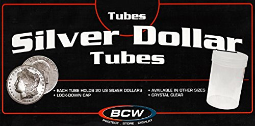 50 BCW Round Clear Plastic Quarter 24 mm Coin Tubes w// Screw-On Cap