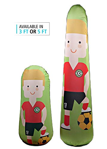 BONK FIT High Performance Polyurethane Kids Inflatable Punching Bag Bop Toy PVC-Free with Machine Washable Designer Cover - Soccer, 5ft