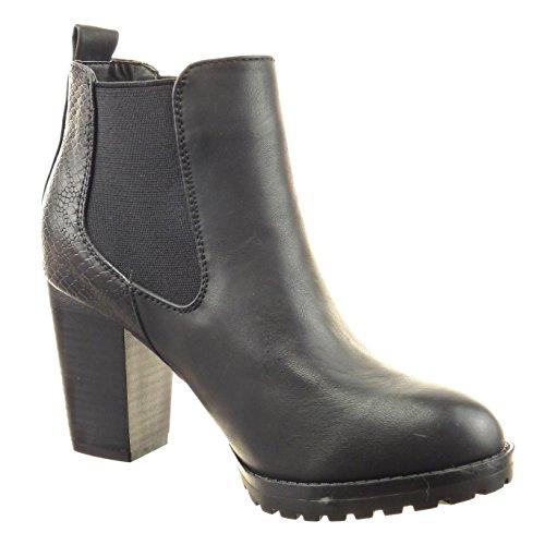 Sopily - Scarpe da Moda Stivaletti - Scarponcini chelsea boots donna pelle di serpente Tacco a blocco tacco alto 8.5 CM - Nero
