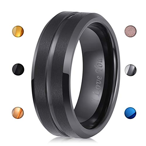 - LaurieCinya Tungsten Carbide Ring Men Women Wedding Band Engagement Ring 8mm Comfort Fit Engraved 'I Love You' Black