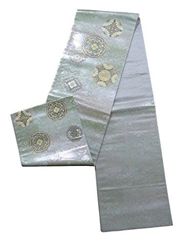 治世統治可能ファンタジーリサイクル 袋帯 螺鈿箔 絵皿と手毬文 正絹