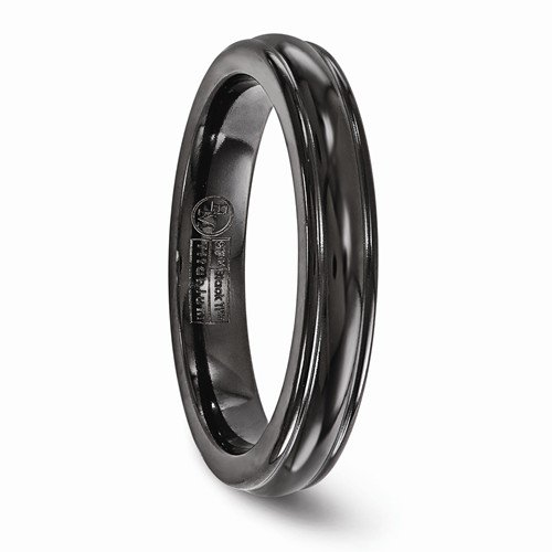 Black Ti Collection 4mm Domed Comfort-Fit Titanium Band