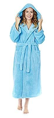 Arus Women's Hooded Fleece Bathrobe Turkish Soft Plush Robe