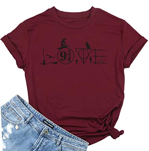 Halloween Harry Potter Tshirts Womens Funny Love Letter Print Short Sleeve Graphic Tee Tops Size L (Wine Red) -