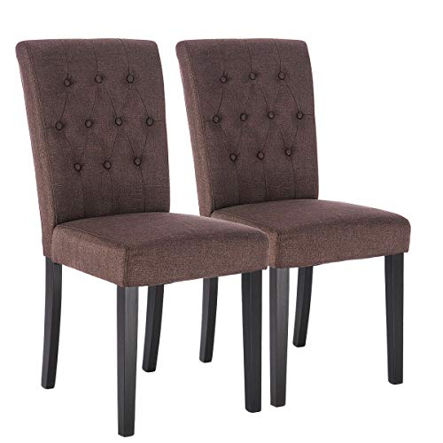 Fabric Dining Chair Armless Accent Tufted Upholstered with Solid Wood Legs Set of 2