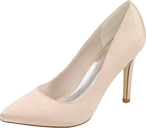 Ol Dress Nightclub Satin Ladies Pointed Eu Bride Pumps Work Champagne 0608 Wedding Heeled Simple 5 Job Toe 37 01 qtwRcRIS