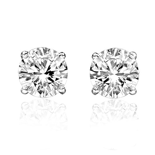 1/2ct Genuine Round Diamond 14k White Gold 0.50ct Stud Earrings Screw Backs - 14k White Gold 1/2 Carat