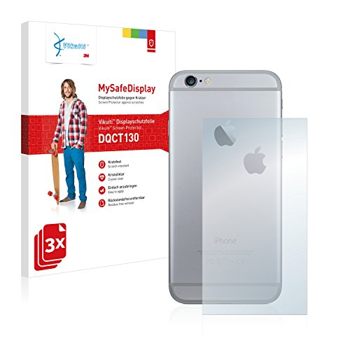 3x Vikuiti MySafeDisplay Pellicola Protettiva DQCT130 da 3M per Apple iPhone 6S Plus Posteriore (superficie centrale + LogoCut)
