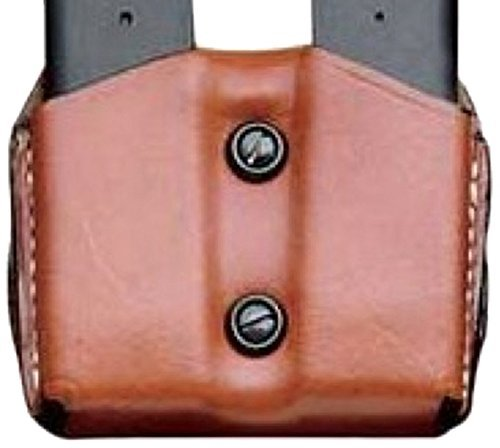 DeSantis Double Magazine Pouch 45 ACP, 10mm Single Stack Magazines Leather by DRD by DRD