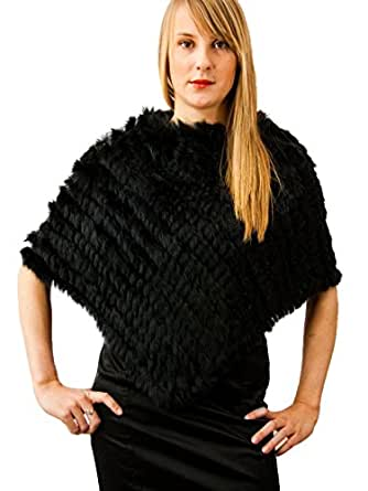 MEEFUR Women's Warm Shawls Real Knitted Rabbit Fur Ponchos Onesize