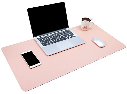 "YSAGi Multifunctional Office Desk Pad, Ultra Thin Waterproof PU Leather Mouse Pad, Dual Use Desk Writing Mat for Office/Home (31.5"" x 15.7"", Pink)"
