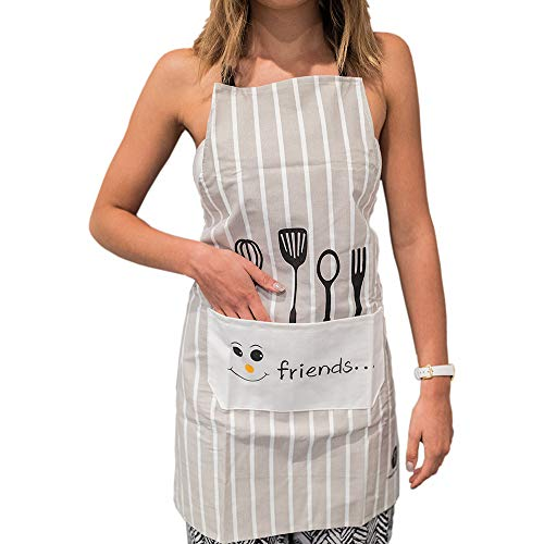 Treperuno - Aprons for Women - Japanese-Style, Apron with Large Pocket, Waterproof Fabric Cooking - Wedding & Bridal Shower Gift for Ladies who Love Cookin - Cotton, White with Gray Stripes
