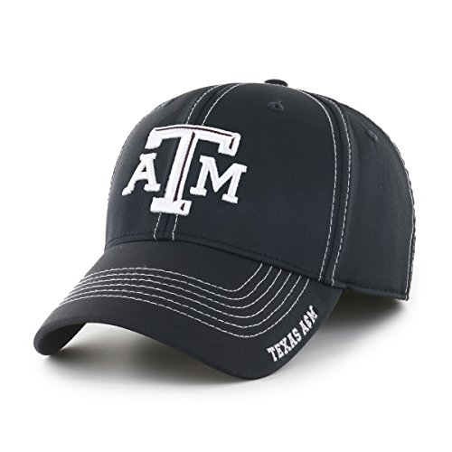 OTS NCAA Texas A&M Aggies Adult Start Line Center Stretch Fit Hat, Large/X-Large, Black (Texas A&m University Football)