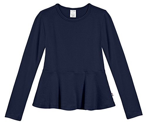 City Threads Big Girls' Cotton Long Sleeve Peplum Top Blouse Shirt for School, Parties or Play Perfect for Sensitive Skin and Sensory Friendly SPD, Navy, 8