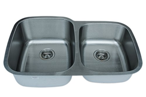 Wells Sinkware CMU3221-97-16-1 16-Gauge 60/40 Double Bowl Undermount Kitchen Sink Package, Stainless Steel (Package Stainless Sink)