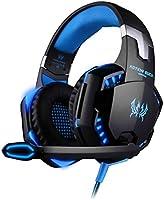Kotion each Fone de Ouvido Gamer G2000 Headset supra-auricular LED com Microfone PS4 Xbox Notebook PC MAC Laptop Preto e Azul