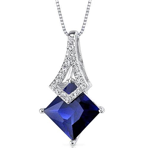 (14 Karat White Gold Princess Cut 2.43 carats Created Blue Sapphire Diamond)