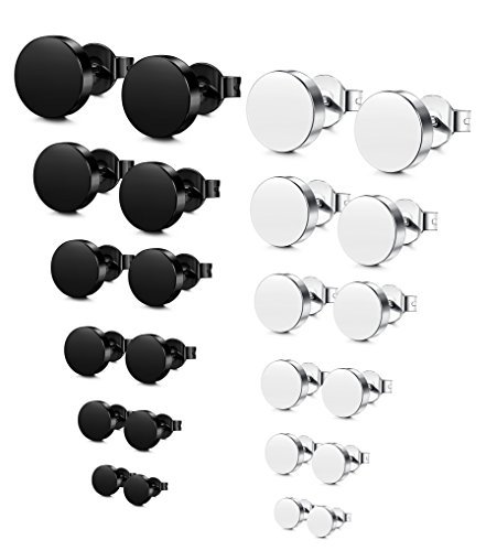 Jstyle Stainless Steel Mens Womens Stud Earrings Pierced Tunnel Black 3-8mm 12 Pairs by Jstyle