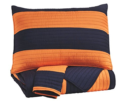 Signature Design by Ashley Nixon Twin Coverlet Set, Navy/Orange by Signature Design by Ashley