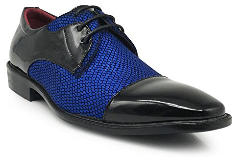 Enzo Romeo Leon Para Hombre Colonial Spectator Two Tone Cap Toe Oxfords Cordones Zapatos De Vestir Royal Blue