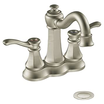 Moen 6301BN Vestige Two-Handle Lavatory Faucet with Drain Assembly ...