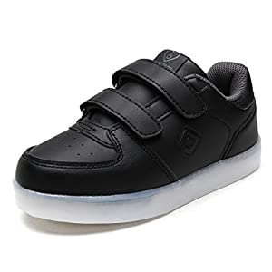 DREAM PAIRS Toddler 170307V-K Black Dk.Grey LED Light up Fashion Sneakers - 6 M US Toddler