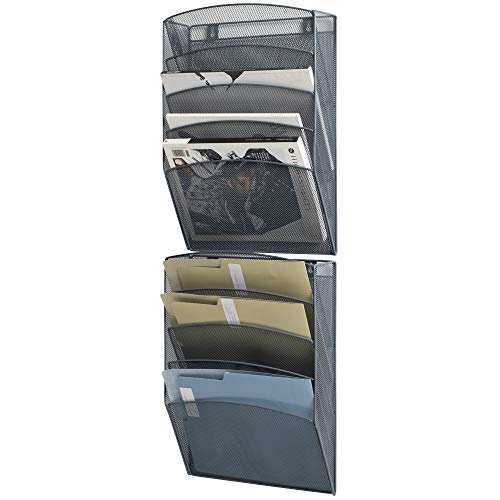Klickpick Office 10 Sections Wall Hanging Files Wall Mounted Metal Mesh Document File Organizer Magazine Holder Rack Organizer Racks Multipurpose Use to Display Files, Magazine, Newspapers- Gray