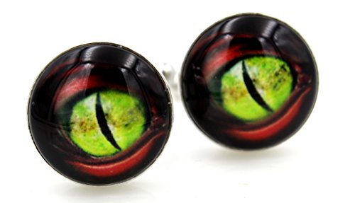 Steampunk - Mother of Dragons - Red Green Dragon Eyes Cufflinks - Men's Cufflinks Cuff Links - dragon Dragon Green Cufflinks