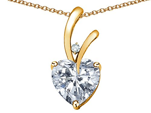 - Star K Heart Shape 8mm Genuine White Topaz Endless Love Pendant Necklace 10 kt Yellow Gold