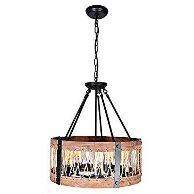Baiwaiz Rustic Kitchen Island Light, Wood and Metal Pendant Lighting with Water Glass Bronze Rust Adjustable Chandeliers