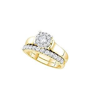 14kt Yellow Gold Womens Princess Diamond Soleil Bridal Wedding Engagement Ring Band Set 1.00 Cttw