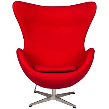 Charmant LeisureMod Arne Jacobsen Egg Style Modern Accent Chair In Red Wool