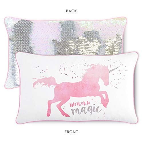 Magical Unicorn Kids Pillow with Reversible Iridescent & Silver Color-Changing Mermaid Sequins