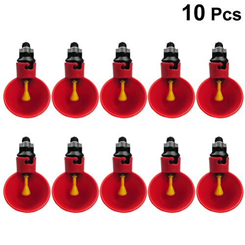 (POPETPOP 10Pcs Poultry Drinker, Chickens Automatic Feeder Quail Drinking Bowl, Automatic Water Bowls for Poultry Chickens Ducks Quails, etc, 8x4.8x3.5cm (Red))