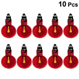 Balacoo 10pcs Automatic Chicken Waterer Poultry Nipple Drinker Feeders Pigeon Quail Drinking Bowl for Water Tube (Red)