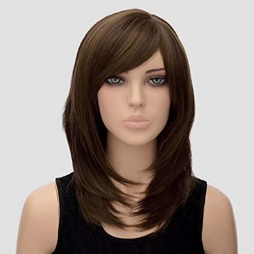 Women's Wig Shoulder Length Wigs Women's Long Dark Brown Wig Straight Hair Wig Cosplay Party Costume Full Soft Wig for Women Lady Girl( Deep Brown (Cute And Easy Hairstyles For Halloween)