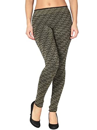 Simplicity Lady Fleece Lined French Terry Fashion Leggings w/Gold Shimmer Design