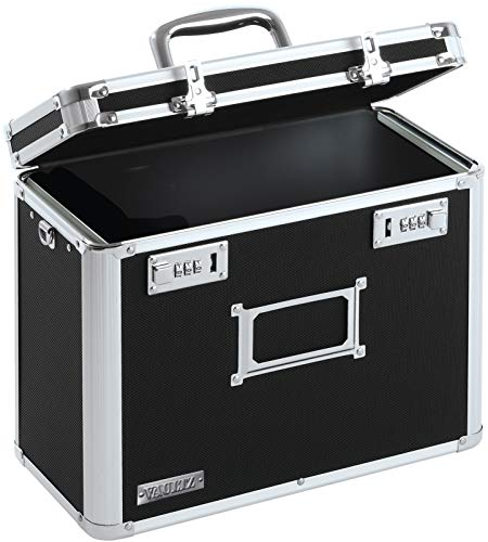 Vaultz Locking Personal File Organizer Tote Box, Letter Size, Black (VZ01187) (File Box Lock)