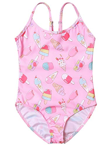 Pink Ice Cream Swimsuits Girls 10 11 Adjustable Strap One Piece Bathing Suits