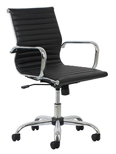 (Essentials Soft Ribbed Leather Executive Conference Chair with Arms - Ergonomic Adjustable Swivel Chair, Black/Chrome)