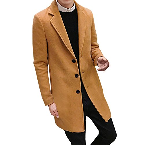 Tomatoa Men Formal Single Breasted Figuring Overcoat Long Wool Jacket Outwear Mens Jackets Winter Jackets Long Winter Jackets for Men, Teens and Boys Khaki