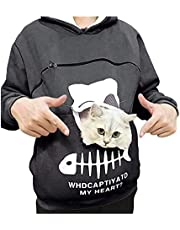 yacn Women's Hoodies Sweatshirts Pet Cat Dog Pouch Hoodies Pouch Hood Cat Dog Holder Carrier Sweatshirt Breathable Pullover Blouse