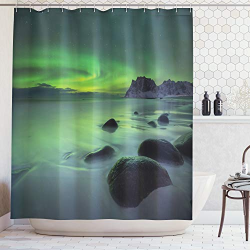 Ambesonne Aurora Borealis Shower Curtain, Magic Nature Panorama Coastline Oval Energy Sky Mist Picture, Cloth Fabric Bathroom Decor Set with Hooks, 70 Inches, Lime -