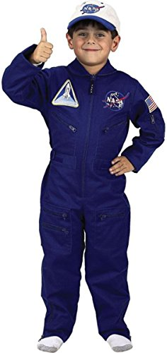 Aeromax Jr. NASA Flight Suit, Blue, with Embroidered Cap and official looking patches, size 8/10. ()