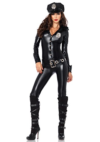 Leg Avenue 4 Piece Officer Payne Lame Police Jumpsuit Costume, Black, Small (Women Police Costumes For Halloween)