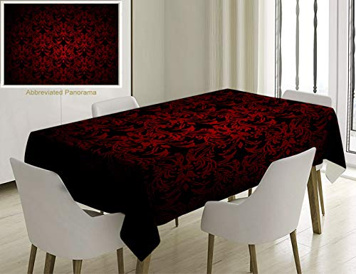 Unique Custom Cotton And Linen Blend Tablecloth Red And Black Victorian Antique Old European Design Floral Swirls And Leaves Ombre Image BurgundyTablecovers For Rectangle Tables, 86 x 55 Inches