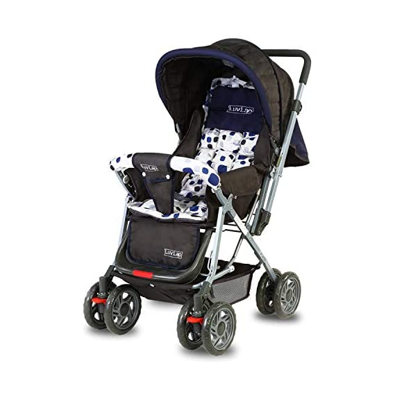 LuvLap Sunshine Stroller/Pram, Easy Fold, for Newborn Baby/Kids, 0-3 Years (Navy Blue)