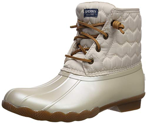 SPERRY Girls' Saltwater Boot Ankle, Pearlized Ivory, 6 M US Toddler