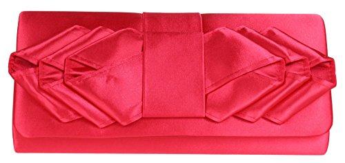 Girly Handbags Satin Clutch Bag Pleats Events Occasions Shoulder Elegant Retro Colors Wedding Bride Prom Red